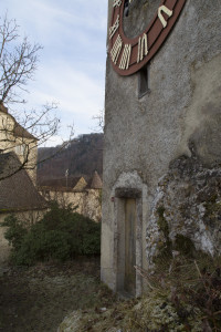 Turmuhr Schloss Burg Foto C. Hayoz